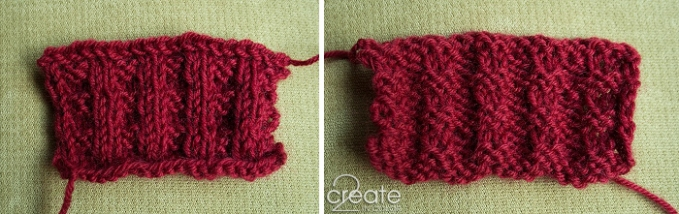 Thermal knit sample: K2, P2 ribbing for two rows, then 2 rows of stockinette; repeat -- easy!
