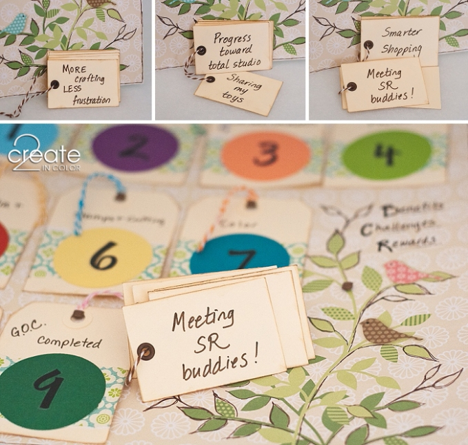 Benefits-and-Rewards-Board. My benefits for going through the Get Organized Challenge at thescraprack.com website include meeting some great new friends online!
