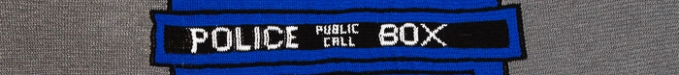 TARDIS Afghan - lettering detail. Photo copyright Longnecker Photography 2014