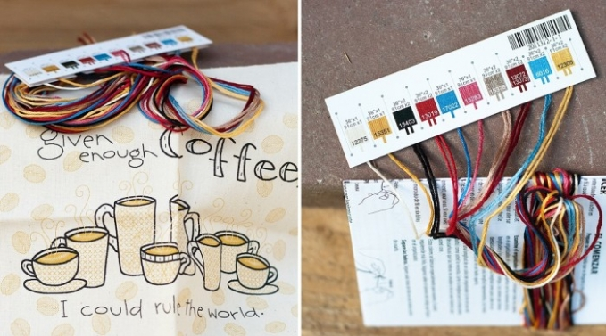 My Coffee Stitching project to go