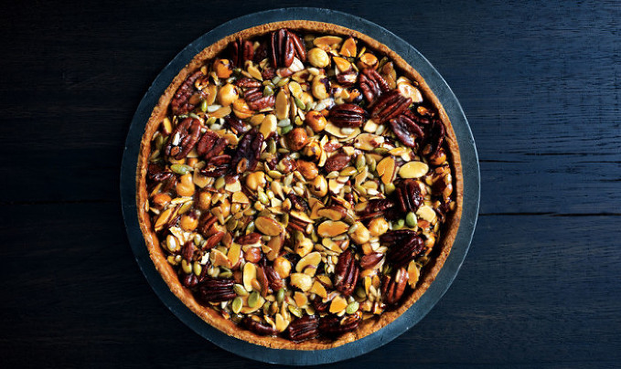 caramelized-honey-nut-and-seed-tart from Bon Appetit Magazine, October 2015