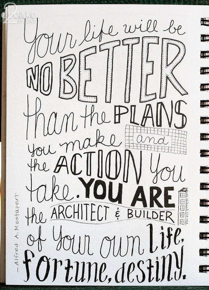 Inktober-Lettering-2015 Your life will be no better than the plans you make and the actions you take. You are the architect andbuilder of your life, fortune, destiny -- Alfred A Montapert